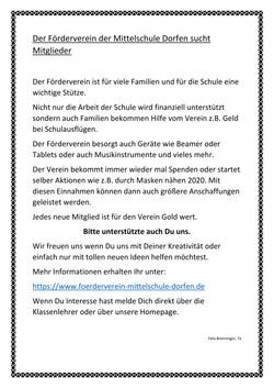 Der Förderverein der Mittelschule sucht Mitglieder!