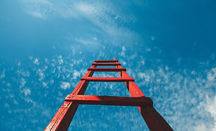 Red Staircase Rests Against Blue Sky, Fr