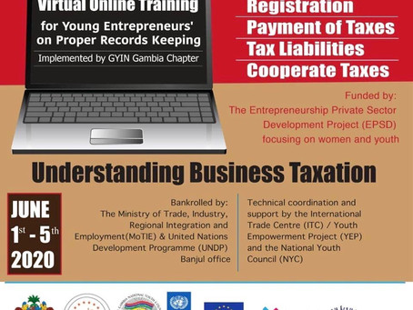 GYIN Gambia To Virtually Train 30 Rural Entrepreneurs On Business Taxation, Records Keeping