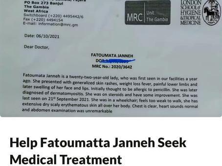 Help Fatoumata Janneh Seek Medical Treatment In Senegal