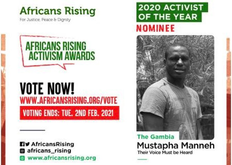 Mustapha Manneh has been nominated as 2020 Activist of the year