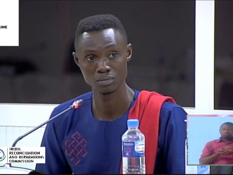 Martin Kyere, survivor of the 2005 massacre of West African migrants testifies before Gambia's TRRC