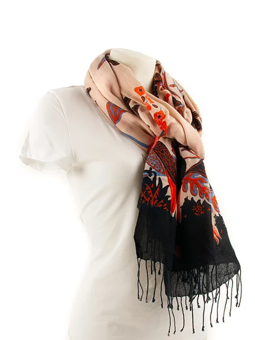 SCARF Birds / Black + Rose