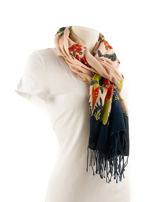 SCARF Birds / Dark Blue + Rose