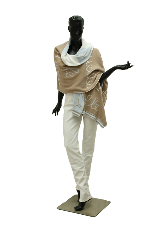 Poncho Camel, Light Blue and Ivory