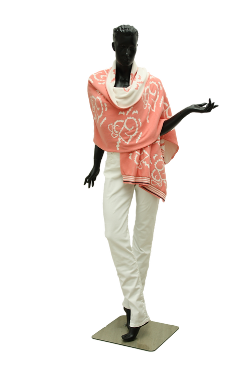 Poncho Cream, Corail and Ivory