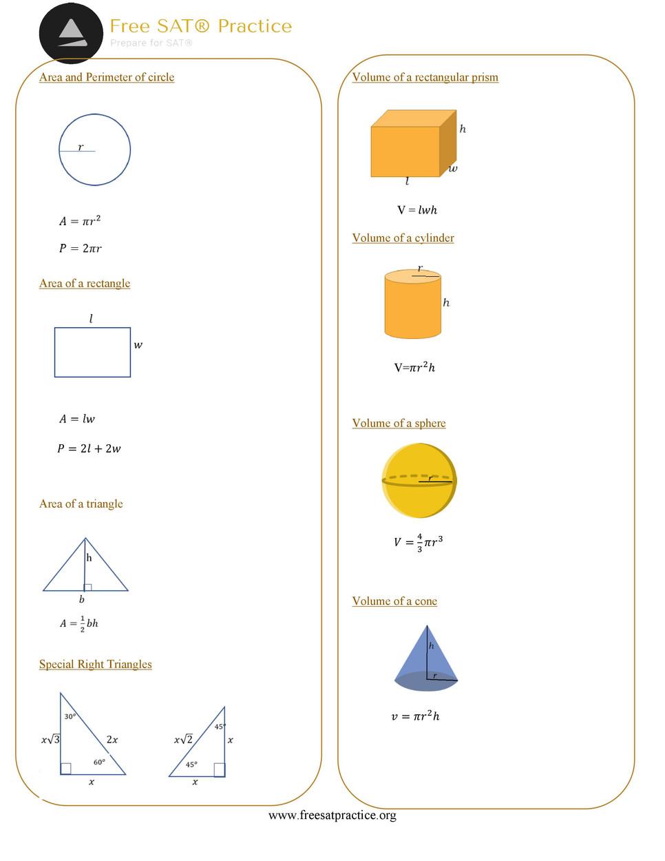 SAT® formula sheets