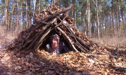 Schutzhütte bauen...