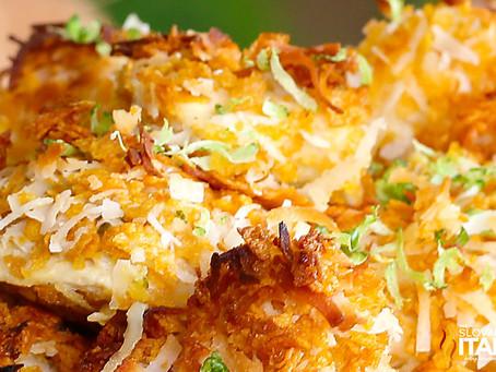 Bocconcini di Pollo al Cocco e Lime con Zucchine al forno