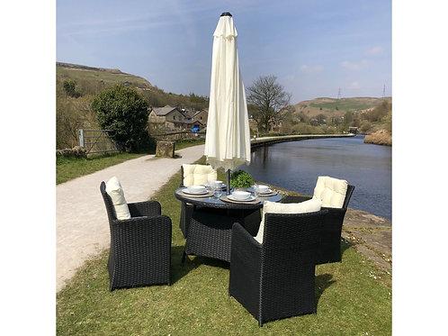Harlow Outdoor Rattan 4 Seat Round Garden Dining Set