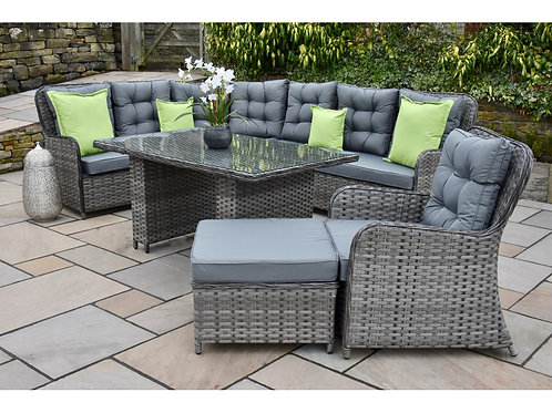 Oxford Luxury Grey Rattan Corner Sofa Dining Set