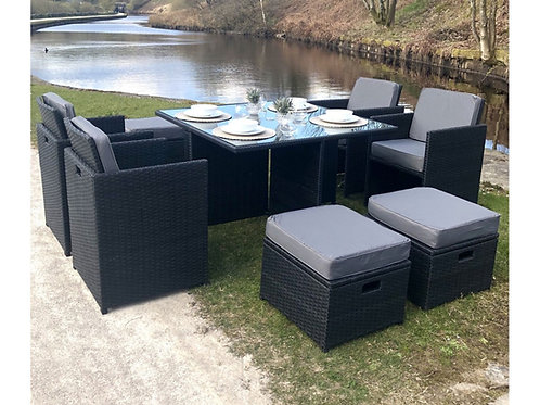 Cube - Deluxe Rattan 8 Seat Dining Set (3 Colours)