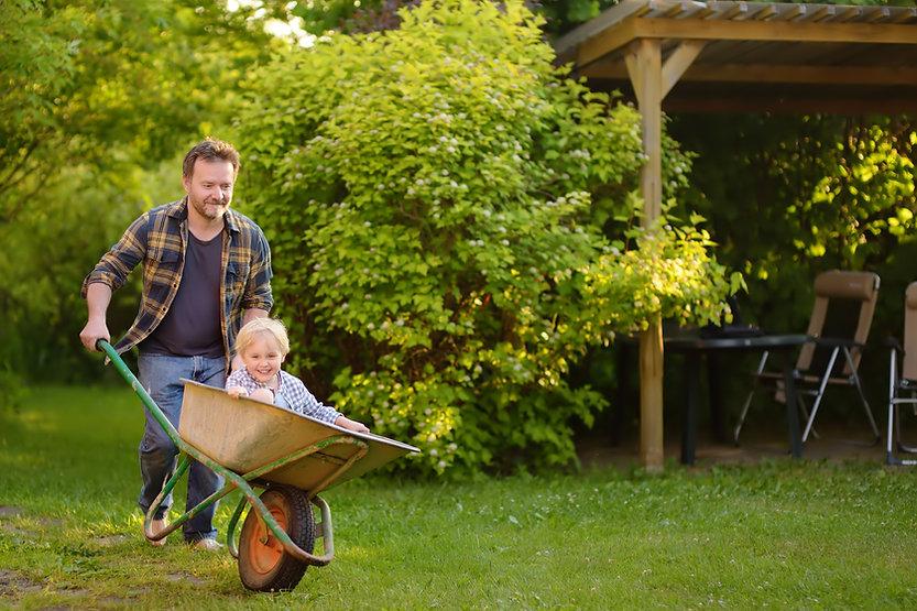 Happy little boy having fun in a wheelbarrow pushing by dad in domestic garden on warm sun
