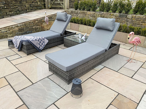 Grey Rattan 3 Piece Sun Lounger Set