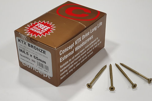 KTX Bronze Timber Deck Screws M4.5 x 65mm (Qty.200)
