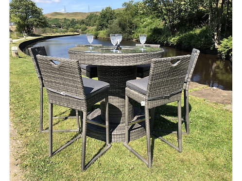 Grey or Black Rattan Bar Set with Ice Bucket and 6 Stackable Stools