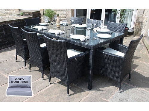 Riga Outdoor Rattan 8 Seat Rectangle Garden Dining Set in Black