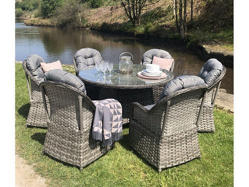 Alore Luxury Grey Rattan 6 Seat Round Dining Set