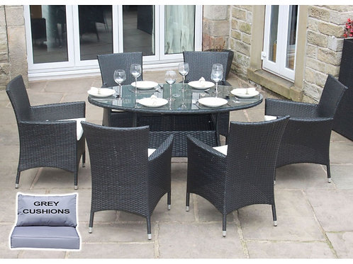 Riga Outdoor Rattan 6 Seat Oval Dining Set Garden Furniture Black