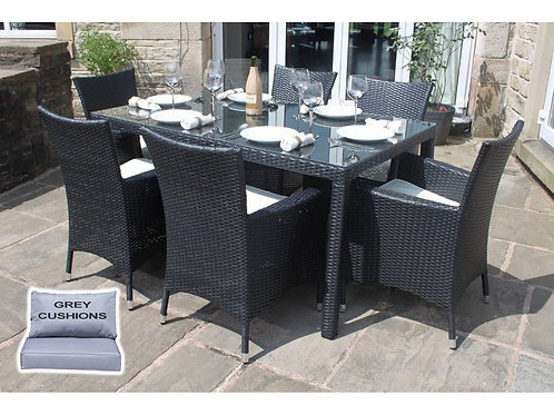 Riga Outdoor Rattan 6 Seat Rectangle Garden Dining Set in Black