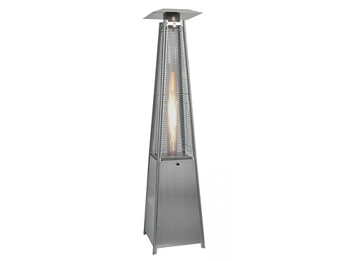 Glass Tube Real Flame 13KW Gas Pyramid Patio Heater Stainless Steel