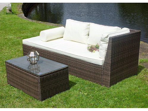 Rattan Chaise Longue with Coffee Table in Brown or Black