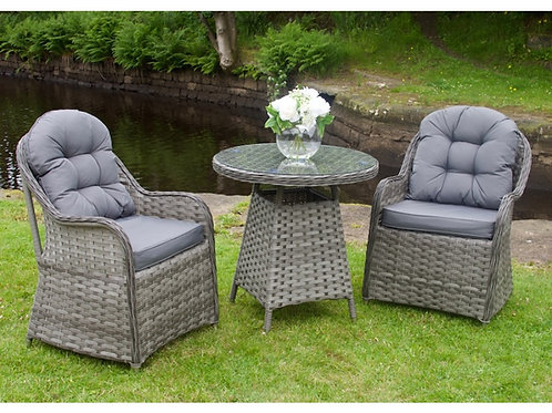 Alore Luxury Grey Rattan Outdoor 3 Piece Bistro Set Garden Furniture