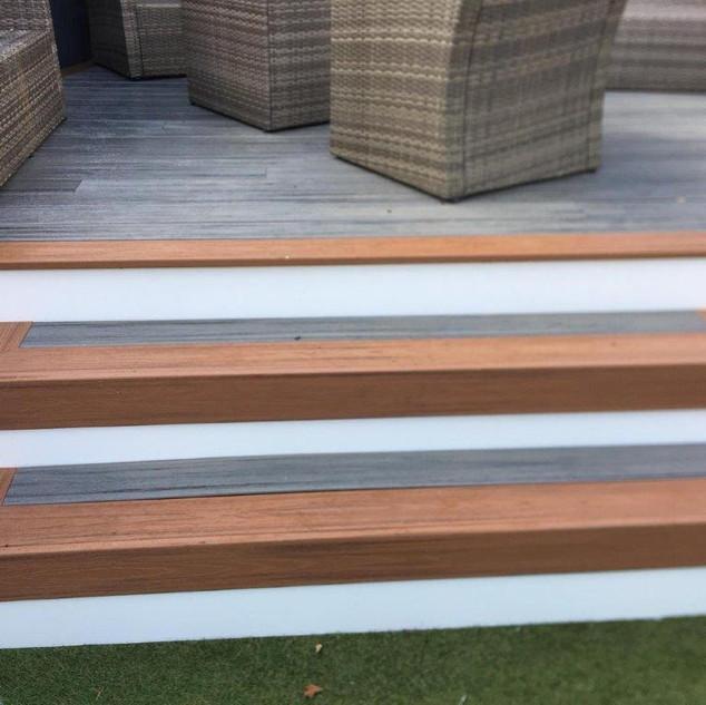 Grey, Brown, White, Decking Steps