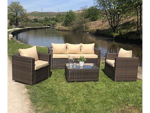 Roma Outdoor Rattan 5 Seat Sofa Set in Brown