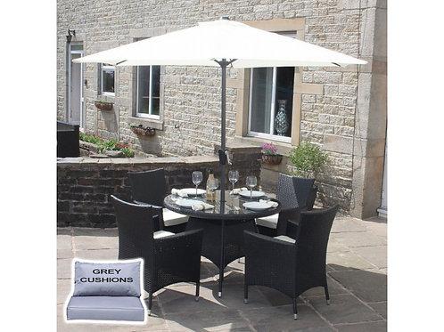 Riga Outdoor Rattan 4 Seat Round Garden Dining Set in Black