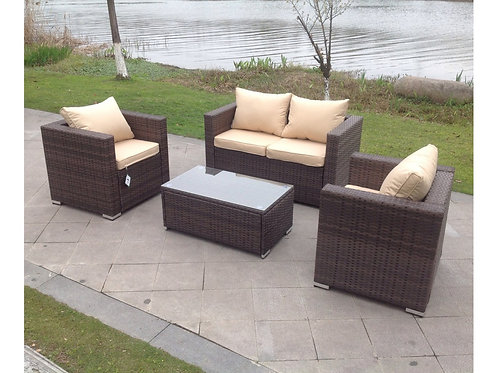 Luxury Roma Outdoor Rattan 4 Seat Sofa Set in Brown
