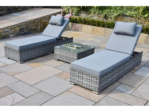Luxury Grey Rattan 3 Piece Sun Lounger Set