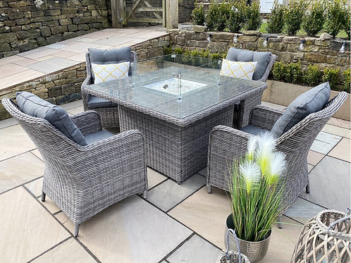 Aura Luxury 4 Seat Gas Fire pit Dining Set