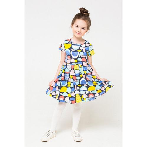 Платье для девочки К 5646/цветные холмики к1254