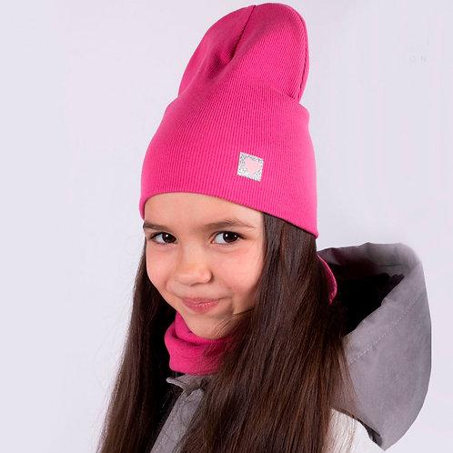 ШВ20-03381381 Двухслойная трикотажная шапка с маленьким сердечком, лапша жимол.