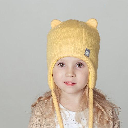 ШЗ20-56051728 Шапка зимняя с ушками медведя, хб подкл, утепл., снуд к шапке