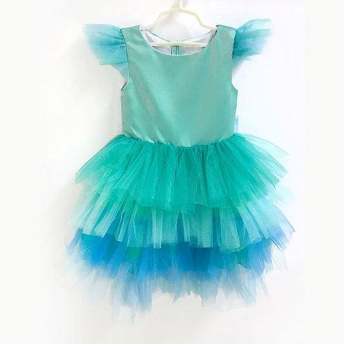 2020-7 Платье для девочки, мятно-голубое