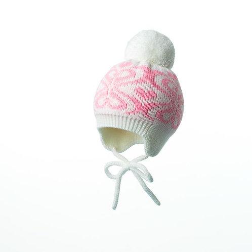 """Шапка """"Пломбир"""" подклад,   белый+розовый"""