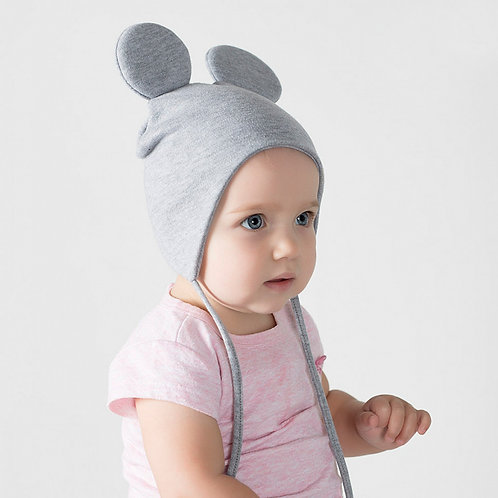 Шапка с ушками Мышка с завязками, серый меланж ШВ19-04362701