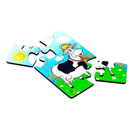 Пазл 6 элементов «Корова на лугу»