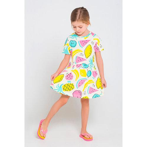 Платье K 5493/тропич фрукты на белом