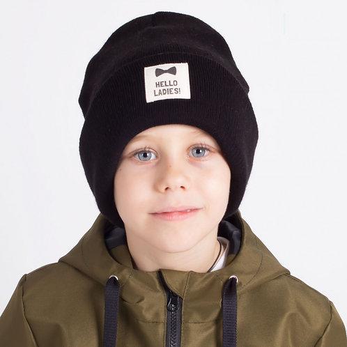 ШЗ20-75021747 Зимняя  двухслойная шапка с подворотом и нашивкой