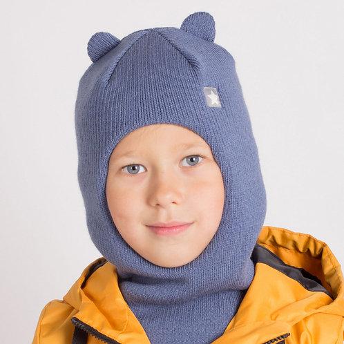 ШЗ20-61851728 Зимняя шапка-шлем  с маленькими ушками и нашивкой, индиго