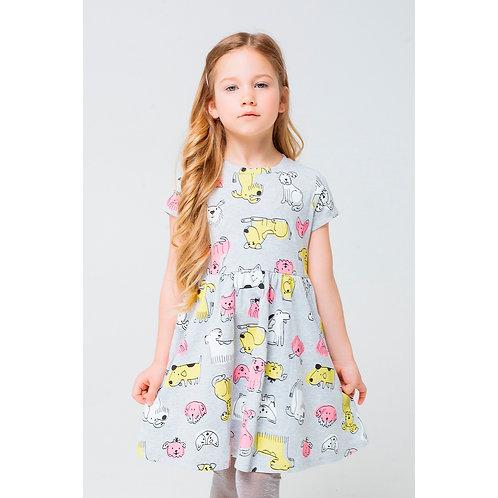 Платье K 5375/серо-голуб.меланж,собачки к123