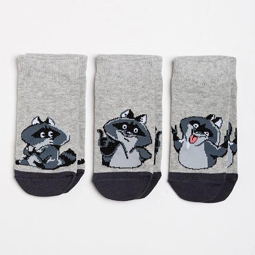Носки детские (3 пары) 404A-649, св.серый меланж-3