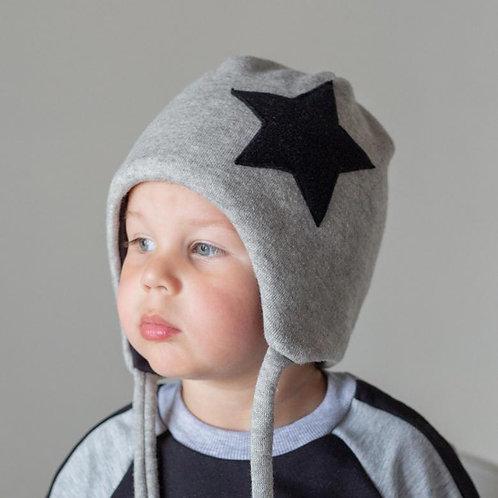 ШЗ-0105  Зимняя шапка со звездой, хб подклад, утеплитель, серый