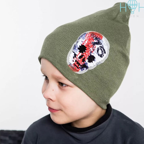 ШВ20-03611380 Двухслойная трикотажная шапка лапша с черепом из пайеток, хаки