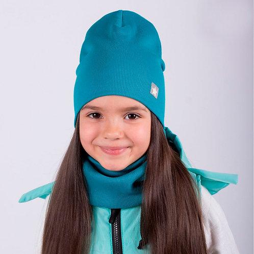 ШВ20-03691328 Двухслойная  шапка лапша с меленькой звездочкой, изумруд