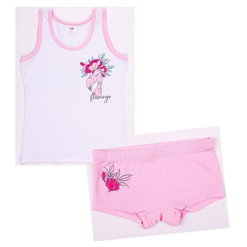 01301_BAT Комплект для девочки супрем белый/розовый