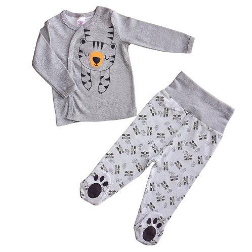 02049_BAT Комплект  Кофточка дл.рукав+ ползунки д/мальчика серый интерлок